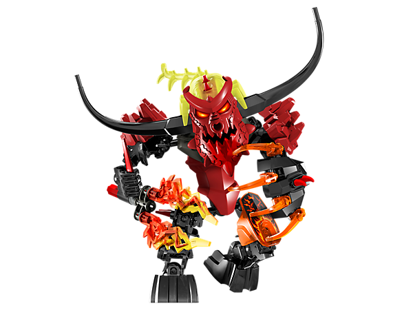 Attach the yellow evil brain and transform into PYROX, a fire-powered minotaur with spinning flame staff, fire claws and lava armor!