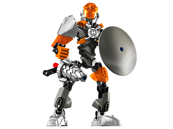 Battle the evil brains with BULK's rotating laser drill, high-impact shield, visor armor and hero core locking clamps!