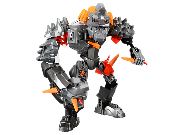 Attach the orange evil brain to create BRUIZER, a hard-headed villain with a rock-smasher fist, rock shoulder armor and razor spikes!