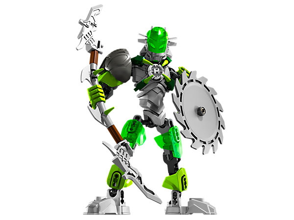 Battle the evil brains with BREEZ, equipped with spinning razor saw shield, bow staff, armored visor and hero core locking clamps!