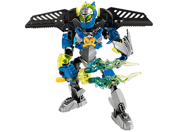 Fight the evil brains with LEGO® Hero Factory SURGE's rotating lightning blades, plasma shooters, jetpack wings, armored visor and more!