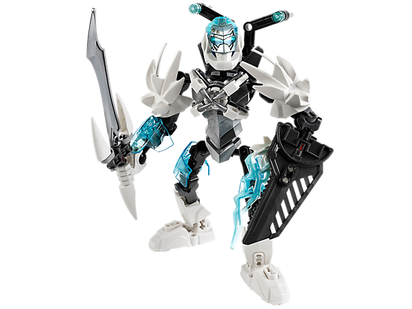 Battle the evil brains with LEGO® Hero Factory STORMER's nano alloy sword with ice fangs, ice hero shield, ice missile launcher and more!