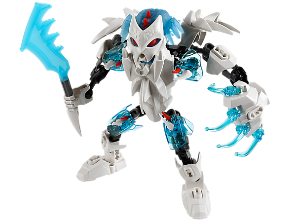 Use the light-blue evil brain to transform into the LEGO® Hero Factory FROST BEAST with spiked ice teeth, frost claws and a frost blade!