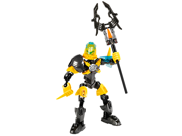 Battle the evil brains with LEGO® Hero Factory EVO's vortex staff and holder, spiked armor, underwater visor and hero core locking clamps!