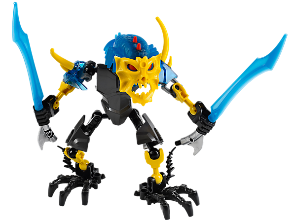 Attach the dark-blue evil brain to transform into LEGO® Hero Factory AQUAGON with tentacle feet, dual-wielding sword staff and more!