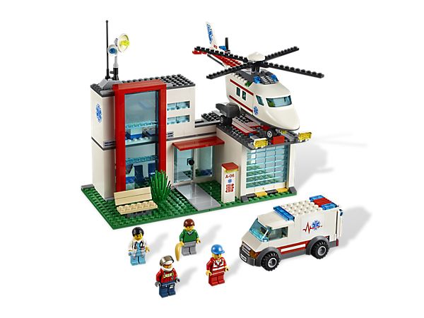 Get on the scene fast with a medical Helicopter and ambulance to speed patients to the detailed hospital that's full of accessories!