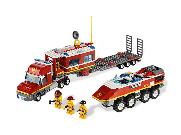 Take control of disasters from the Fire Transporter then unload the fire truck and dispatch help with the high-tech command center!
