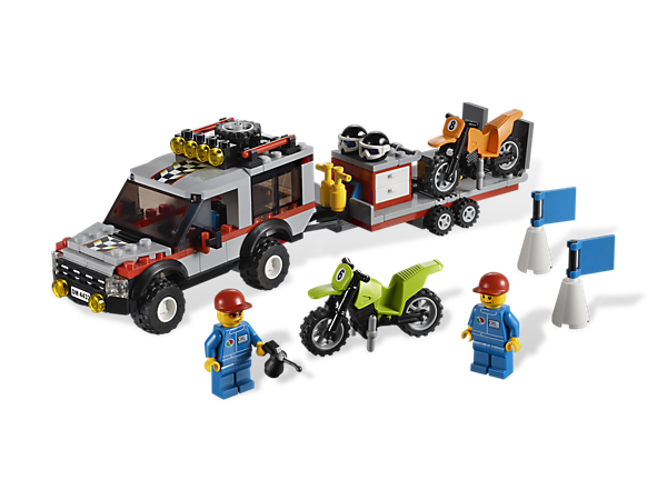 Unload the dirt bikes and tear up the LEGO® City track with 2 minifigures with bikes, tools and tons of cool racing accessories!