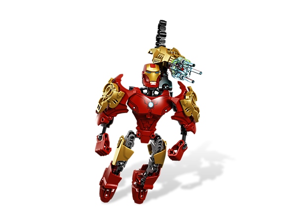 """Build a 7"""" tall poseable Iron Man™ with powered-up armor, blasters and jet boots, then combine and customize this superhero for more power!"""