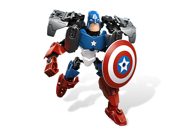 Create a poseable Captain America™ with a powered-up suit and shield to take on any villain – then create your own custom superhero!