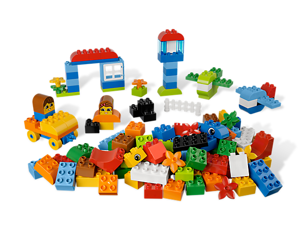 Start learning to build everything with the LEGO DUPLO starter set that's got 150 colorful elements and tons of special pieces!