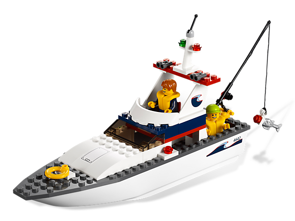 Catch a boatload of fishing fun in the LEGO® City Fishing Boat, an easy-to-build vessel with 2 minifigures and a jaw-snapping shark!