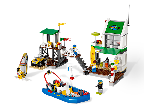 "Build a center for summer fun with the 14"" wide Marina that includes 5 minifigures, 2 vehicles and fun destinations for realistic play!"