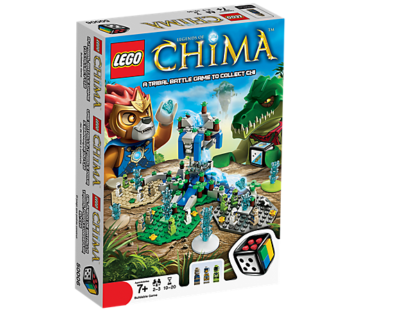 Compete with the crocs, lions and eagles for the CHI with LEGO® Games Legends of Chima with buildable dice, 12 microfigures and 25 CHI!