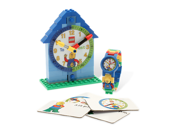 Build time-telling skills with the LEGO® Time-Teacher Minifigure Watch & Clock for kids, featuring a minifigure and activity cards!