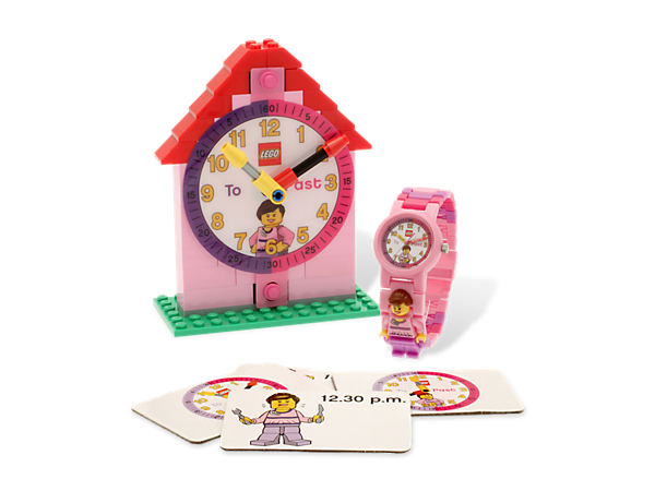 Build time-telling skills with the LEGO® Time-Teacher Girl Minifigure Watch & Clock, featuring a minifigure and activity cards!