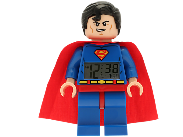 Wake up on Metropolis time with a heroic-sized LEGO® Super Heroes DC Universe Superman™ Minifigure Clock with an alarm!
