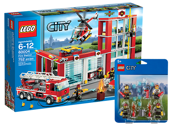 Save the day with a fire truck, van and helicopter, all at the LEGO® City Fire Station with 9 firefighters, a Dalmatian and equipment!