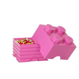 Różowy pojemnik w kształcie klocka LEGO® z 4 wypustkami