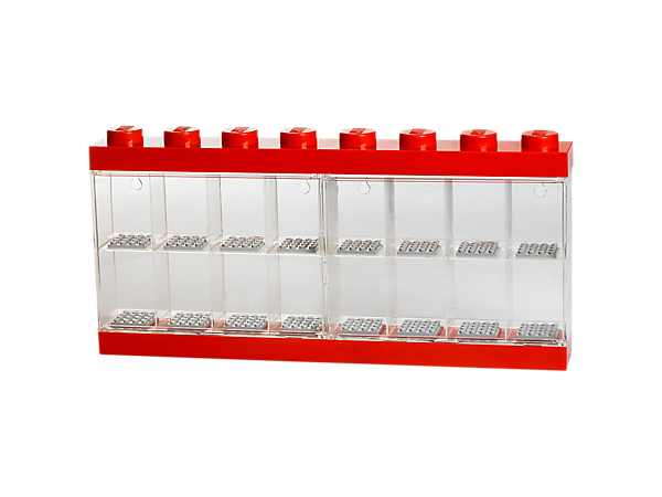 Exhibit, carry and store your minifigures in the LEGO® Minifigure Display Case 16 – Red, with transparent clasp door and 16 compartments!