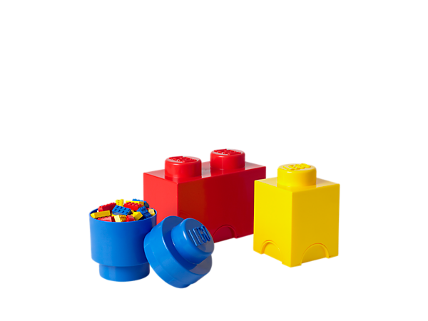 Create over-sized LEGO® storage to hold your LEGO bricks, minifigures and more with this triple pack of 1 and 2-stud LEGO storage bricks!