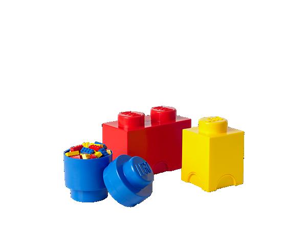 Få LEGO® opbevaringsplads til dine LEGO klodser, minifigurer m.m. med denne multipak med tre 1- og 2-knops LEGO opbevaringsklodser i overstørrelse!