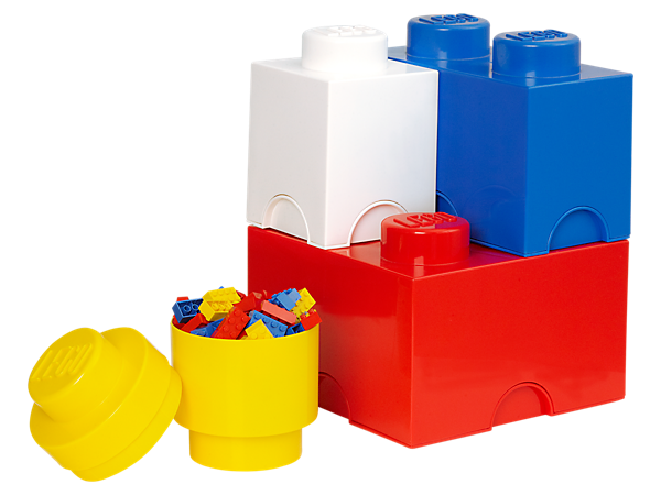 Build giant-sized LEGO® storage to hold your LEGO bricks, minifigures and more in the fully-stackable quad pack of 1, 2 and 4-stud LEGO storage bricks!
