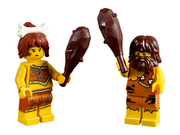 Enjoy some prehistoric LEGO® fun with these cool caveman and cavewoman minifigures with clubs and a cardboard cave house that doubles as a handy storage box.