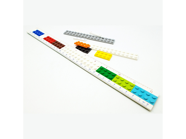 Create your own dual-length LEGO® Buildable Ruler and use the assorted colorful LEGO plates to customize and create your own designs.