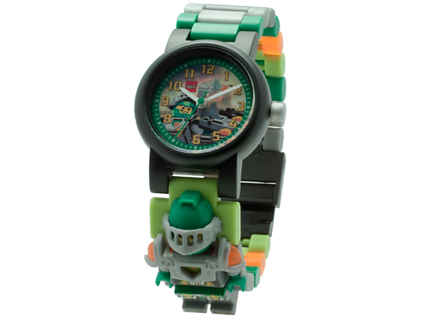 <p>You won't be a second late for the charge into battle with this analog quartz watch, featuring a buildable strap with multicolored, interchangeable links, sculpted Aaron minifigure and a scannable shield.</p>