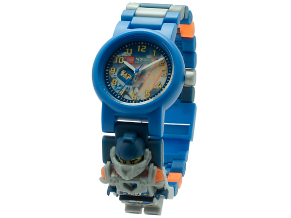 You'll always arrive on time to save Knighton from Jestro with this analog quartz watch, featuring a buildable strap with multicolored, interchangeable links, sculpted Clay minifigure and a scannable shield.