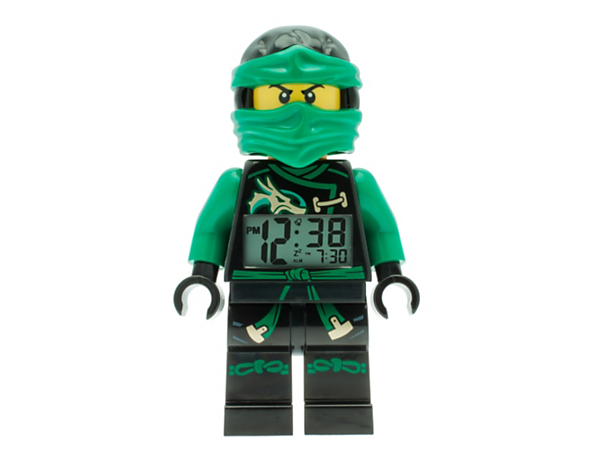 Get up for ninja battles with this Sky Pirates Lloyd Minifigure Alarm Clock featuring a posable jumbo-sized minifigure, LCD display, plus snooze and backlight functions.