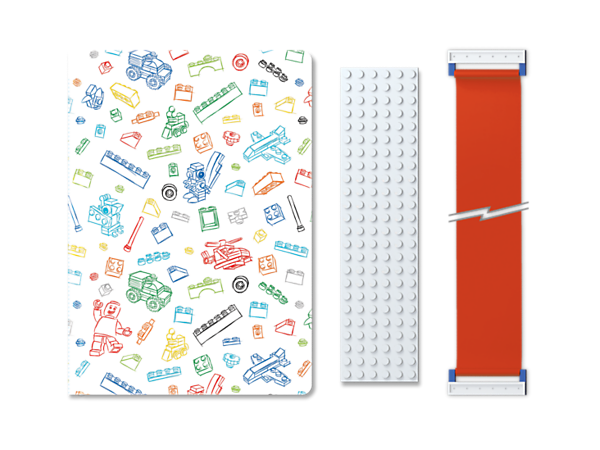 Keep all your big ideas in this 96-page LEGO® Journal with White Band, featuring an elasticated band and white 6x24 brick plate to personalize.