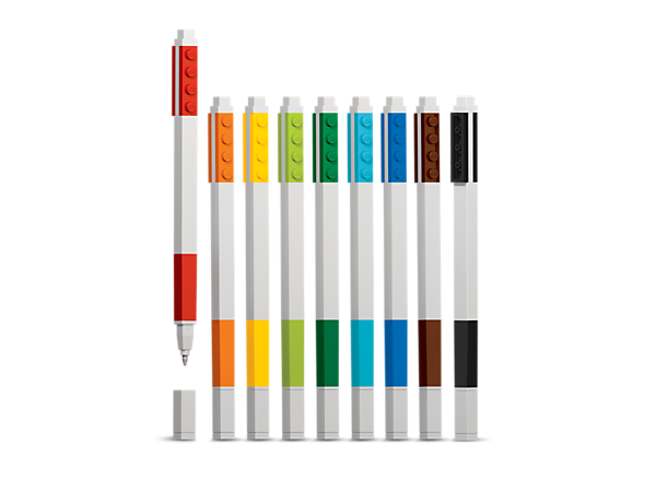 Create something colorful with this 9-Pack Gel Pen Set, featuring nine refillable gel pens, each with a removable cap and LEGO® 1x4 tile for customization.
