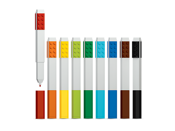 Build, write and draw with this 9-Pack Marker Set, featuring nine markers in different colors, each with a removable cap and LEGO® 2x4 tile to attach your own minifigure or bricks.