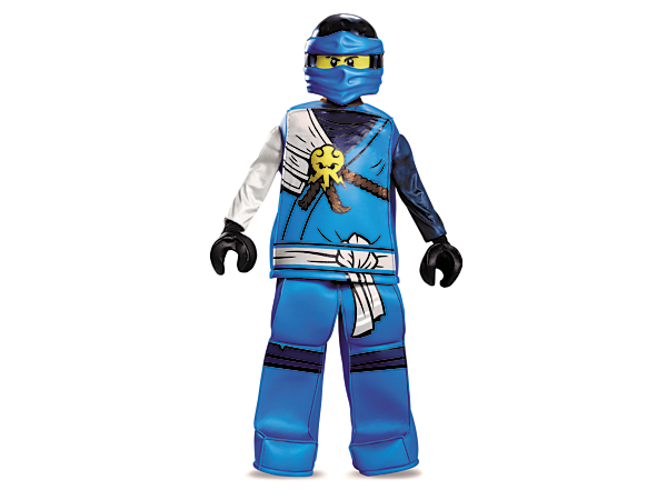 Transform into ninja Jay with the LEGO® NINJAGO® Jay Prestige costume featuring a tunic top and pants with authentic ninja details, two minifigure-style hands and character mask.