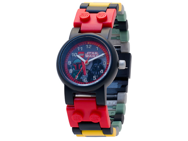 Sense the dark side with this LEGO® Star Wars Boba Fett and Darth Vader Link Watch, featuring a buildable strap with multicolored, interchangeable links and themed face design, plus 2 minifigures.
