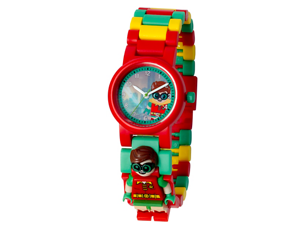 Become the ultimate sidekick with this analog quartz watch featuring a buildable strap with multicolored, interchangeable links and a sculpted Robin™ minifigure.