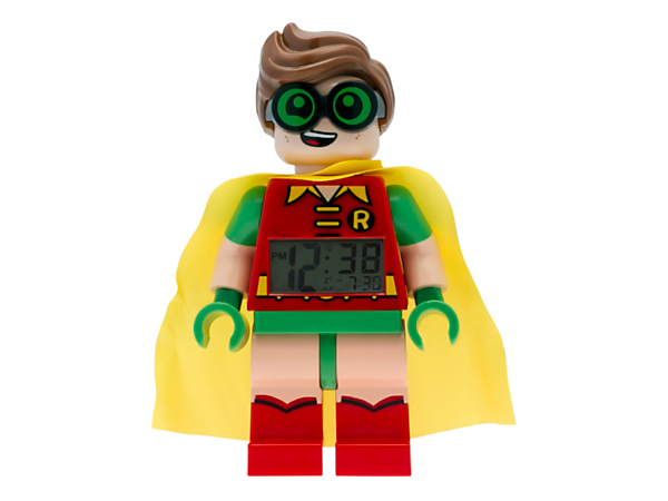 Wake up for your next adventure with THE LEGO® BATMAN MOVIE Robin™ Minifigure Alarm Clock, featuring a posable jumbo-sized minifigure, LCD display, plus snooze and backlight functions.