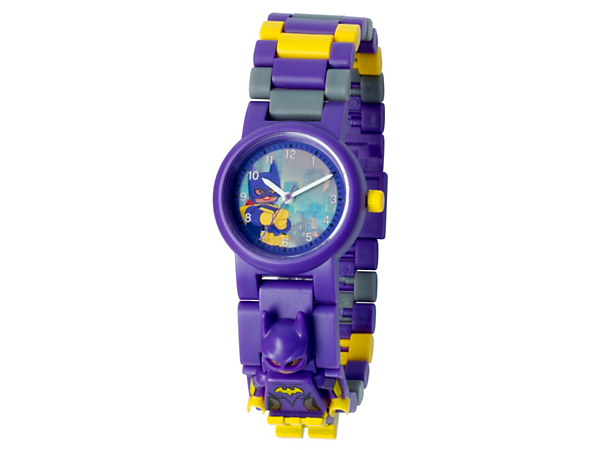 Be on time for adventures with Batgirl™ with this analog quartz watch featuring a buildable strap with multicolored, interchangeable links and a sculpted Batgirl minifigure.