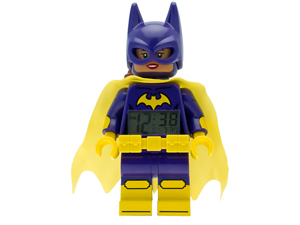 It's time for action with THE LEGO® BATMAN MOVIE Batgirl™ Minifigure Alarm Clock, featuring a posable jumbo-sized minifigure, LCD display, plus snooze and backlight functions.