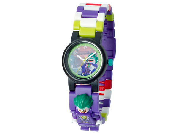 Tell the time in Super-Villain style with this analog quartz watch featuring a buildable strap with multicolored, interchangeable links and a sculpted The Joker™ minifigure.