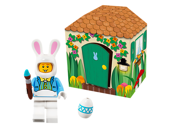 Collect, display or play with this Easter Bunny minifigure in his colorful cardboard hut, complete with Easter Egg and paintbrush accessory elements.