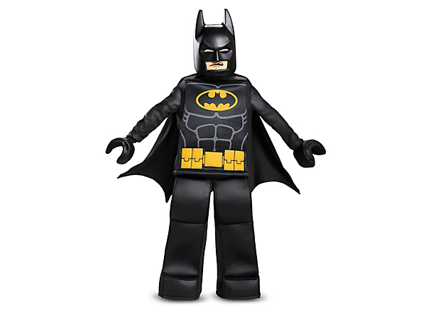 Become the Dark Knight with THE LEGO® BATMAN MOVIE Batman™ Prestige Costume, featuring minifigure-style tunic top, pants and hands, character mask and a cape.