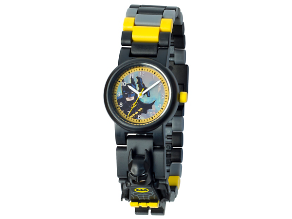 Keep the Dark Knight with you at all times with this analog quartz watch featuring a buildable strap with multicolored, interchangeable links and a sculpted Batman™ minifigure.