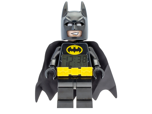 Get up feeling ready to go with THE LEGO® BATMAN MOVIE Batman™ Minifigure Alarm Clock, featuring a posable jumbo-sized minifigure, LCD display, plus snooze and backlight functions.