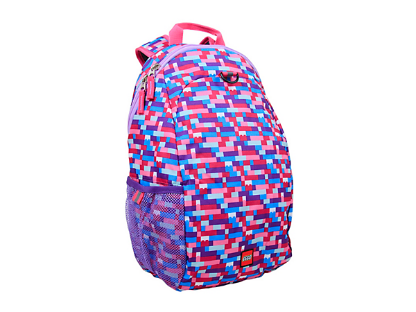 Carry your things in style with the LEGO® Pink/Purple Brick Print Heritage Backpack, with adjustable padded straps, main zipper compartment with slip pocket, and mesh side pocket.