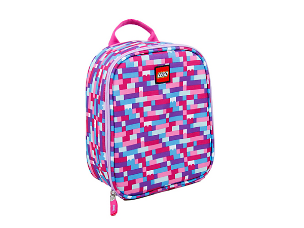 Carry your lunch in the LEGO® Pink/Purple Brick Print Lunch Bag with an insulated, easy-clean main compartment with mesh pocket, oversized zipper pull and durable carry handle.