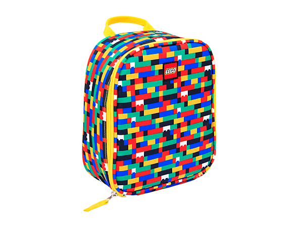 Pack your lunch in LEGO® Red/Blue Brick Print Lunch Bag with an insulated, easy-clean main compartment with mesh pocket, oversized zipper pull and durable carry handle.