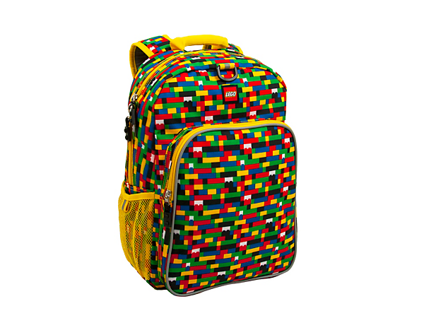 Show off the stylish LEGO® Red/Blue Brick Print Eco Heritage Backpack, with adjustable padded straps, main compartment with slip pocket, front zipper pocket and mesh side pocket.